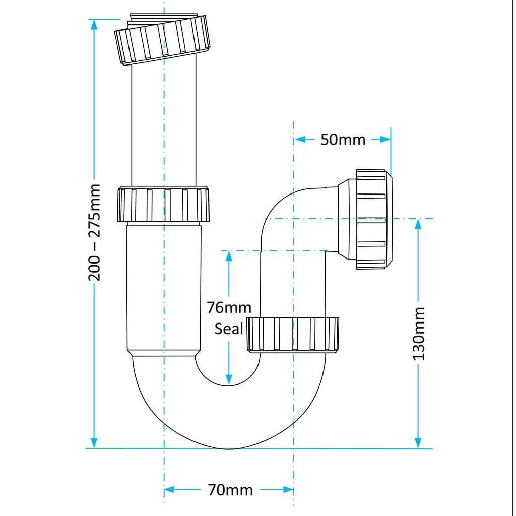Viva Easi Flo Telescopic P Trap 32mm Heating Parts