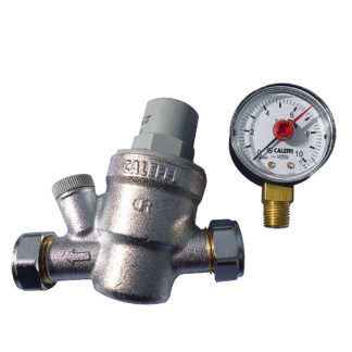 Caleffi Pressure Reducing Valve 15mm 533841 With Pressure Gauge