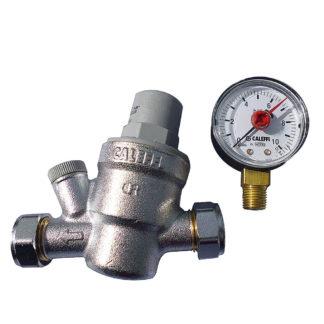 Caleffi Pressure Reducing Valve 15mm 533841 With Pressure Gauge