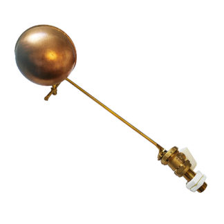 """1/2"""" Part 2 High Pressure Brass Ball Cock Valve Arm & 4 1/2"""" Copper Float Side View Photo"""