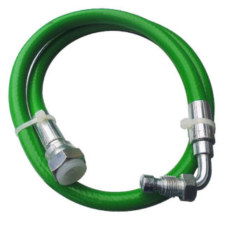 """Green Flexi Oil Line 1/4"""" M Bent x 3/8"""" F Straight x 890mm"""