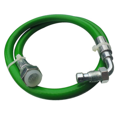 "Green Flexi Oil Line 1/4"" M Bent x 3/8"" F Straight x 890mm Front View Photo"