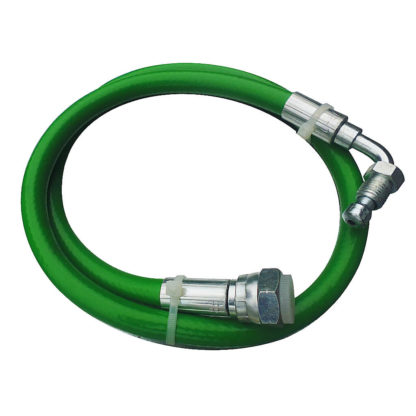 "Green Flexi Oil Line 1/4"" M Bent x 3/8"" F Straight x 890mm Side View Photo"