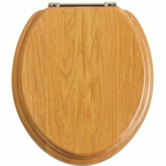 Heritage Oak Toilet Seat with Chrome Hinges