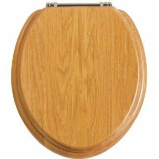 Heritage Oak Toilet Seat with Chrome Hinges (FOA101, TSOAK101) lid photo