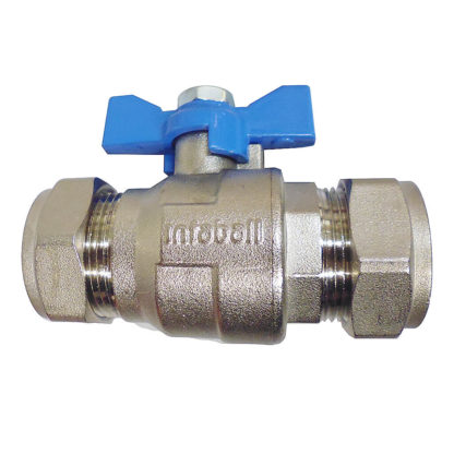 Altecnic Intaball Ball Valve 22mm with Blue Butterfly Handle, Reverse Photo