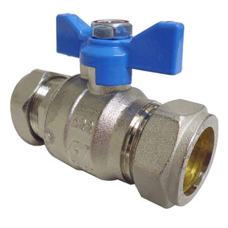 Altecnic Intaball Ball Valve 22mm with Blue Butterfly Handle, Side Photo