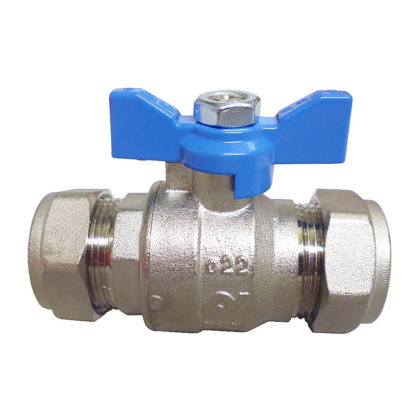 Altecnic Intaball Ball Valve 22mm with Blue Butterfly Handle