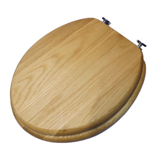 Heritage Oak Toilet Seat with Gold Hinges FOA100 Top