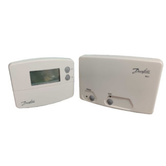 Danfoss Randal TP5000 Si Wireless Programmable Room Thermostat Front Photo Angled