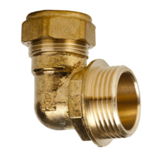3/8' x 10mm Elbow Brass photo Fitting Male Iron Angled View photo