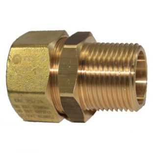"""TracPipe Male Brass Straight AutoFlare Coupling DN25 / 28, 1"""" Front Photo"""