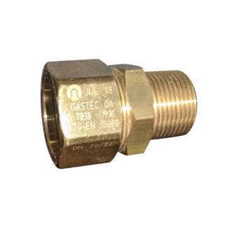 """TracPipe Male Brass Straight AutoFlare Coupling DN20 / 22, 3/4"""" Side Photo"""