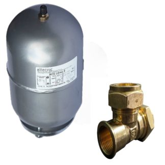 ATC 2 Litre Expansion Tank With 22mm CxCxF Tee Front Photo